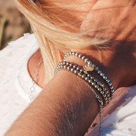 Perlenarmband 925 Sterling Silber -- in Silber, Rosevergoldet oder Vergoldet