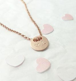rose Plättchen 925 Silberkette rosevergoldet