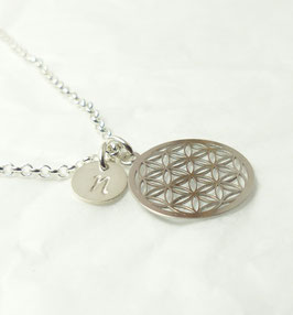 Blume des Lebens + Buchstabe 925 Silberkette / Namenskette