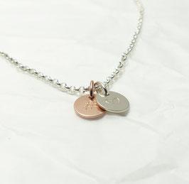 Hashtag Herz 925 Silberkette Bicolor