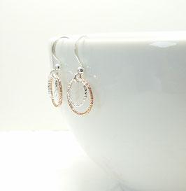 Andressa - Ohrringe doppel Karma rosevergoldeter Kreis und ein kleinerer silber Kreis 925 Sterling Silber
