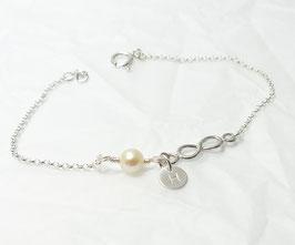 Infinity und Perle 925 Silberarmband Initialplättchen