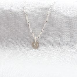feine gedrehte Silberkette mit einem Plättchen  925 Sterling Silber Namenskette