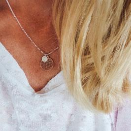 Blume des Lebens + Buchstabe 925 Silberkette / Namenskette - rosevergoldete Blume