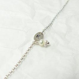 Sweet Initial 925 Silberarmband mit einer Perle