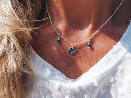 Namenskette mit 2 Perlen und einem Plättchen 925 Silberkette