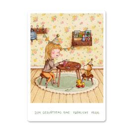 "Postkarte ""Geburtstagstee mit Teddy"""