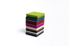 "6er Set Filz-Untersetzer ""Quadrat"", eckig, 100% Wollfilz, 10x10 cm, 5mm dick"