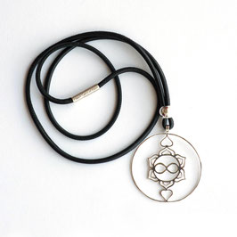 Nappaleder Kette, Heart Spirit Kraft-Symbol, 925 Silber