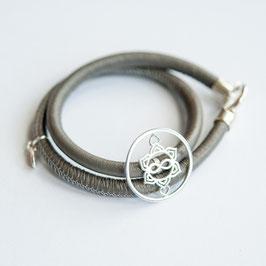 Nappaleder Armband 5mm, Heart Spirit Kraft-Symbol, 925 Silber