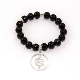 Onyx Edelsteinarmband 10mm mit Heart Spirit Kraftsymbol