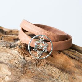Nappaleder Armband flach, Heart Spirit Kraft-Symbol, 925 Silber