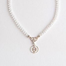 Bergkristall  Edelsteinkette 4mm/45cm mit Heart Spirit Kraftsymbol
