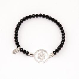 Onyx Edelsteinarmband 4mm mit Heart Spirit Kraftsymbol