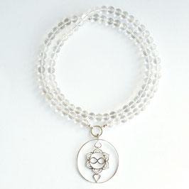 Bergkristall Edelsteinkette 12mm mit Heart Spirit Kraftsymbol