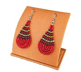 Beaded Earrings Tear Drop - Red/Black/Gold