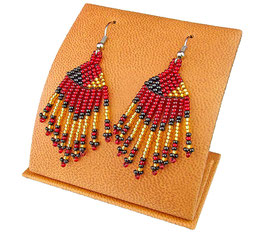 Beaded Short Tassel Earrings - Black/Red/Gold