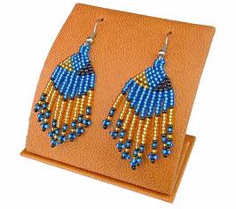 Beaded Short Tassel Earrings - Blue/Black/Gold