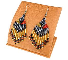 Beaded Short Tassel Earrings - Brown/Black/Gold