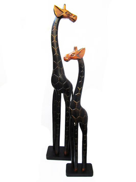Large Wooden Carved Giraffe dark