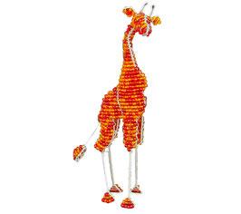 African Beaded Giraffe - Orange