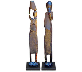 African Sculpture Wooden Pair