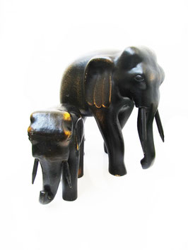 Carved Wooden Elephant pair