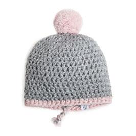 myBabyloon winterbommelmütze, grau-rosa