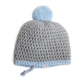 myBabyloon winterbommelmütze, grau-blau