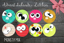 24 Adventskalender Sticker MONSTA MIX