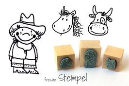 Cowboy, Kuh und Pferd
