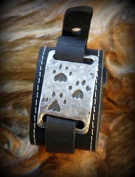 Nr 15   Armband Katzenpfoten Edelstahl - Leder