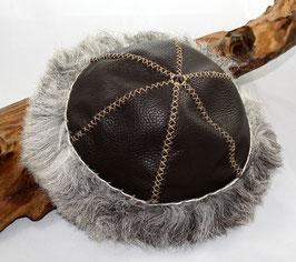 frühmittelalterliche Kopfbedeckung Leder - Schaffell Nr 31