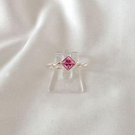 ONA – Ring Silber mit pinkem Zirkonia