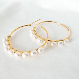 HALINA – Creolen mit Perlen 44 mm vergoldet