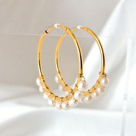 HALINA – Creolen mit Perlen 32 mm vergoldet