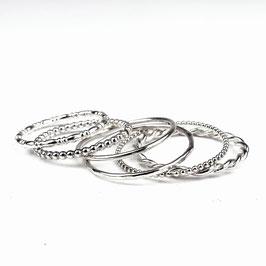 ALEXIA III – Set aus 6 Ringen Silber