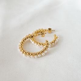 VALENTINA Creolen mit Perlen 30 mm vergoldet