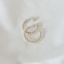 VALENTINA Creolen mit Perlen 30 mm Silber