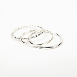 ALEXIA Set aus 3 Ringen Silber