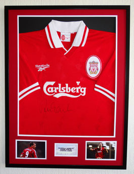 Robbie Fowler hand signed Liverpool home Jersey - Deluxe framed  + COA