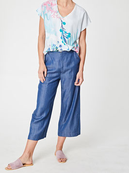 Chambray Cropped Sailor Pants