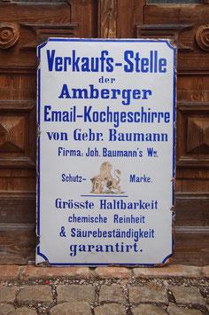 Emailschild, Gebr. Baumann Amberg