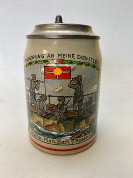 """Bierkrug mit Zinndeckel """" Bah. 7 Rosenheim """""""