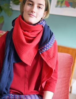 Damen Schal, Stilltuch, Sonnensegel... Pilze/rot/navy