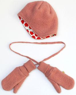 Mütze oder Handschuhe aus Wollwalk rosa