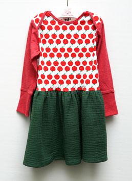 Longsleeve-Musselin-Kleid, Apfel oder Waschbär