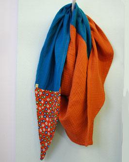 Damen Schal, dreieckig petrol/rost Musselin