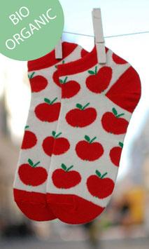 Damensneaker Äpfelchen rot/weiss BIO