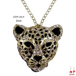 Collier à pendentif tête de léopard dorée ou argentée incrustée de strass